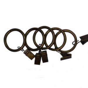 Brown curtain rings clip